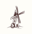 mill sketch village old rural windmill on vector image vector image