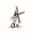 mill sketch village old rural windmill vector image