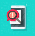 mobile phone with notification error alert vector image vector image