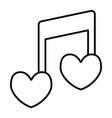 musical note heart shape thin line icon love song vector image