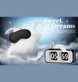 night background with pillow and blindfold vector image vector image
