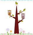 owls on tree vector image