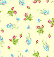 Pattern with sforget-me-not flowers and roses vector image