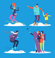 people adult and kids snowboarding and skiing vector image