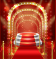 podium for show with red carpet vector image