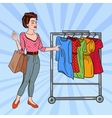 Pop Art Woman with Shopping Bags Choosing Dress vector image