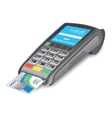 POS terminal with credit card on white background vector image