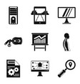 programming device icons set simple style vector image vector image