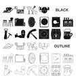 pub interior and equipment black icons in set vector image