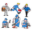 repairman mascot cartoon set vector image vector image