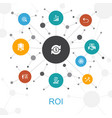 roi trendy web concept with icons contains such vector image vector image