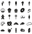 Set of black dessert icons vector image vector image