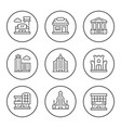 set round line icons of buildings vector image