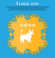 Taurus icon Floral flat design on a blue abstract vector image vector image