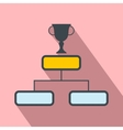 Trophy cup on a prize podium flat icon vector image vector image