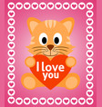 valentines day background card with cat vector image vector image