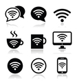 Wifi internet cafe wifi icons set vector image vector image