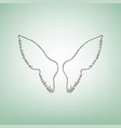 wings sign brown flax icon vector image
