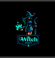 woman witch with a magic broom vector image vector image