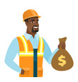 young african-american builder showing money bag vector image