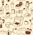 doodle coffee pattern converted vector image