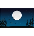 Halloween full moon and bat silhouette vector image