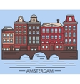 Old Amsterdam Holland houses on bridge set vector image