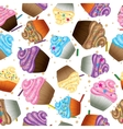 Cupcakes with cream Seamless background vector image