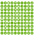 100 geography icons hexagon green vector image vector image
