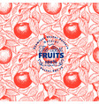 apple seamless pattern hand drawn garden fruit vector image vector image