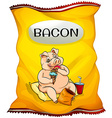 Bag of bacon chips vector image