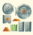 bank vault metallic iron safe door vector image