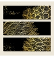 Banners with golden pattern vector image vector image