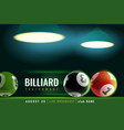 billiards poster snooker tournament with 3d vector image