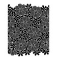 black pattern with white contour flowers set vector image vector image