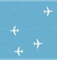 cartoon airplane path seamless pattern vector image vector image