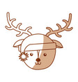 christmas deer face cartoon vector image vector image