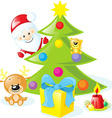 christmas design with santa claus xmas tree candle vector image