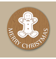 christmas woody round card vector image vector image