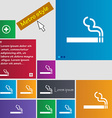 cigarette smoke icon sign buttons Modern interface vector image
