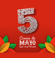 cinco de mayo card mexican paper cut art vector image vector image