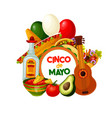 cinco de mayo mexican holiday food and decorations vector image vector image