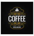 coffee logo vintage label design background vector image vector image