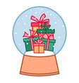 colorful gift boxes in christmas snowball new vector image vector image