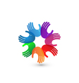 Colorful hands teamwork logo vector image vector image