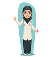 cute arab doctor with pill medicine in hand vector image vector image