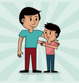 dad and boy together fathers day image vector image