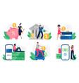 digital banking bank transactions credit card vector image vector image