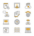 e-learning distance education flat line icons vector image vector image