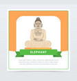 elephant banner giant statue of buddha flat vector image